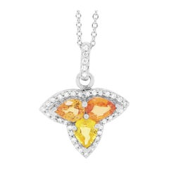 Orange and Yellow Multi-Color Sapphire and Diamond Clover Pendant