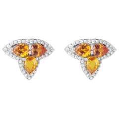 Orange and Yellow Multi-Color Sapphire and Diamond Earrings