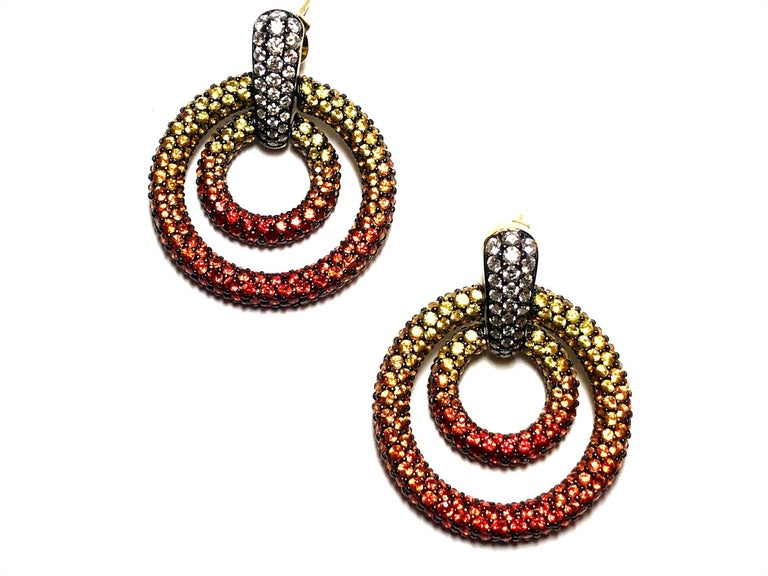 Modern Orange and Yellow Sapphire Diamond Gold Drop Earrings For Sale