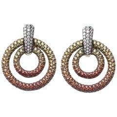 Orange and Yellow Sapphire Diamond Gold Drop Earrings