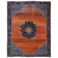 Orange Antique and Worn Persian Afshar Open Filed with Medallion Hand Knotted