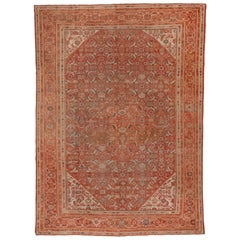 Orange Antique Persian Mahal Carpet, circa 1930s
