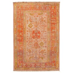 Orange Antique Turkish Oushak Wool Rug