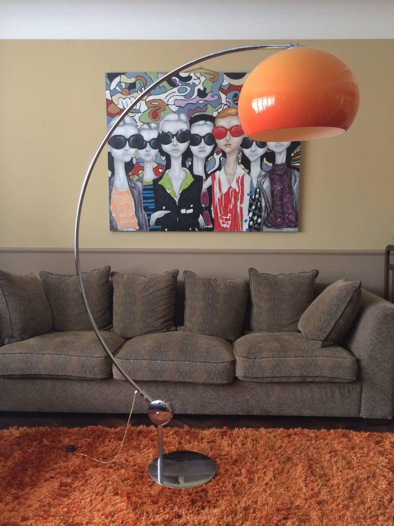Orange Arc Floor Lamp Guzzini Italy Midcentury For Sale At