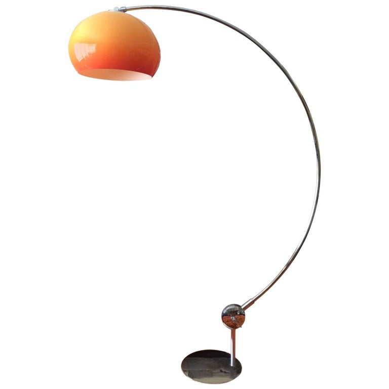 Orange Arc Floor Lamp Guzzini Italy Midcentury For Sale At