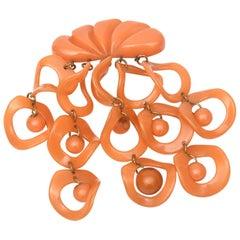 Orange Bakelite Geometric Dangler Pin Brooch Rare Vintage