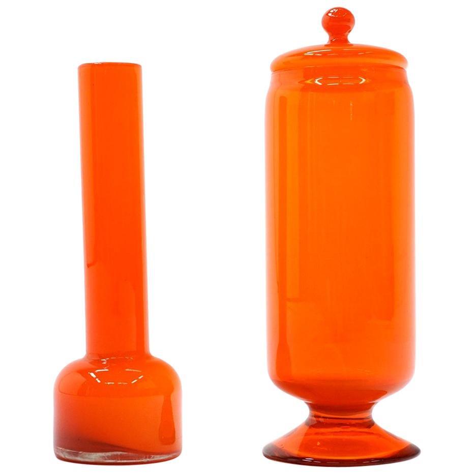 Orange Blenko (?) Art Glass Vase and Decanter