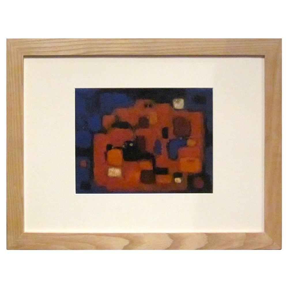 Orange, Blue, Black Midcentury Abstract Acrylic Painting, Germany, 1950s