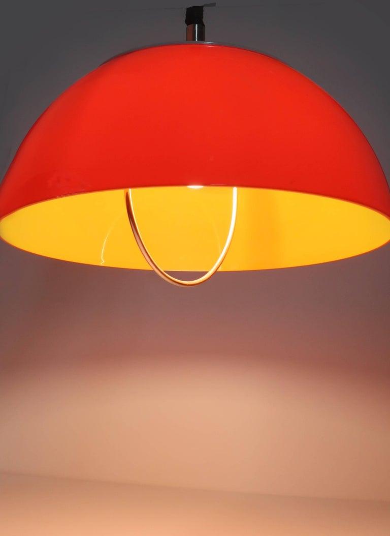 20th Century Orange Brevettato Retractable Pendant Lamp For Sale