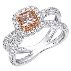 Orange Brown Diamond Ring Princess Cut 0.58 Carat GIA Certified