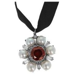 6.10 Carat Orange Brown Diamond Pearl Drop Pendant