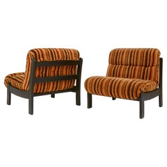 Orange, Brown Pair Wood Lounge Chairs with Original 70's Fabric, France 1970's