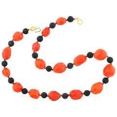 Orange Carnelian and Lava Necklace