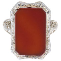 Orange Carnelian White Gold Art Deco Filigree Ring