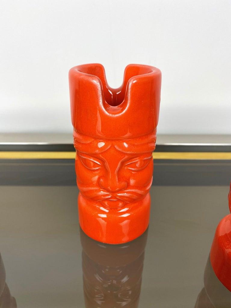 Orange Ceramic Chess Pieces Sculpture by Il Picchio, Italy, 1970s For Sale 5