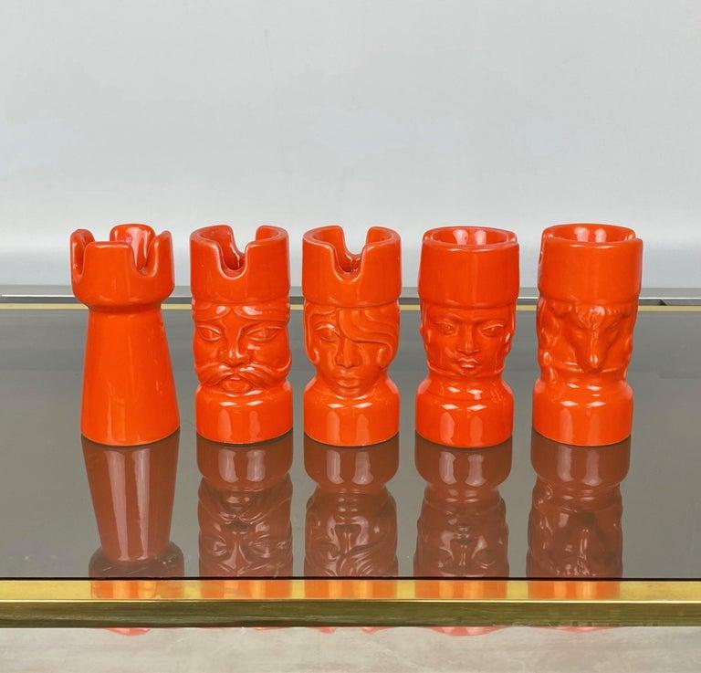 Five chess pieces in orange ceramic by Il Picchio, Italy, 1970s.