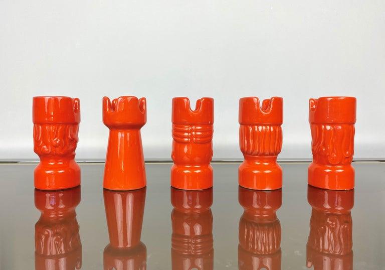 Orange Ceramic Chess Pieces Sculpture by Il Picchio, Italy, 1970s For Sale 1