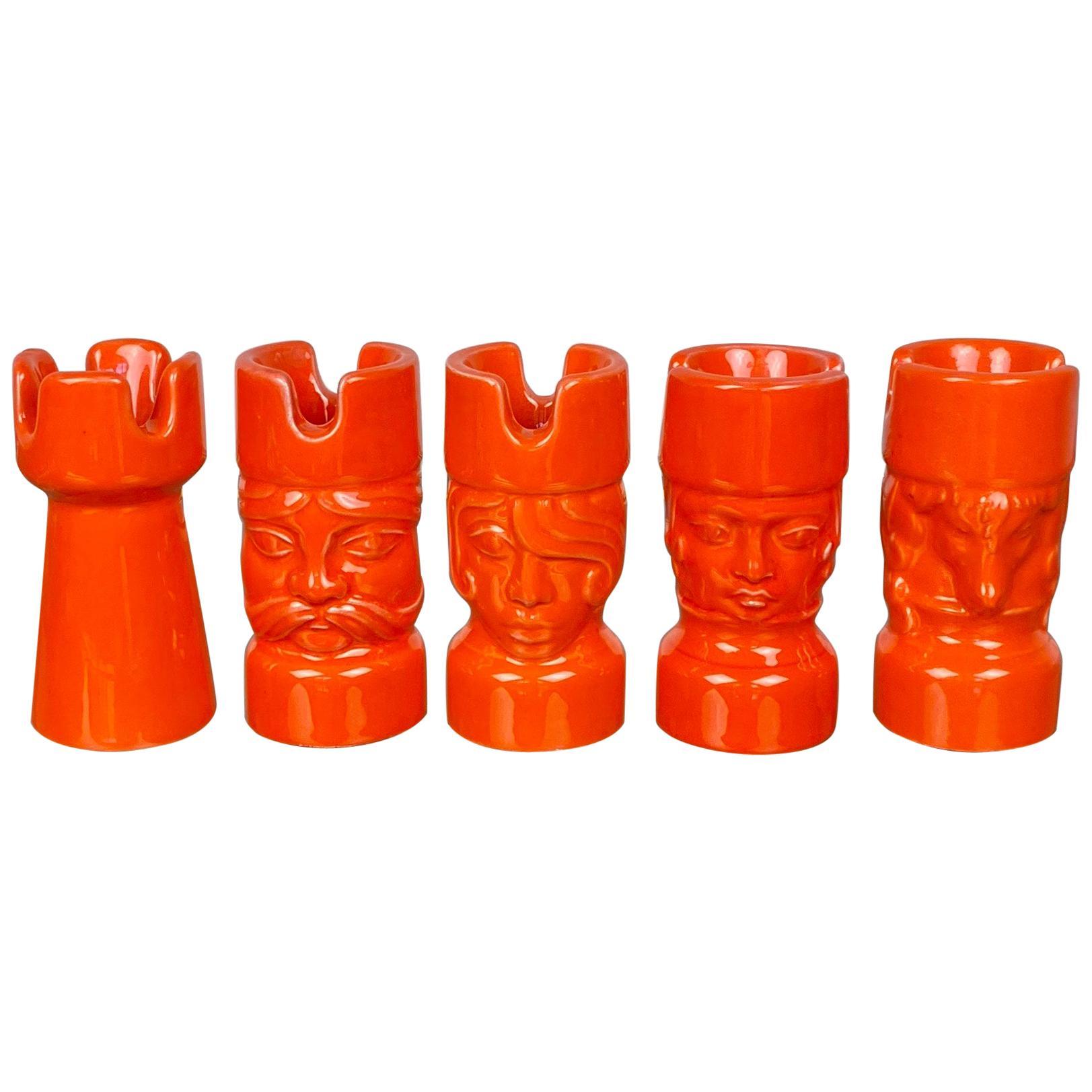Orange Ceramic Chess Pieces Sculpture by Il Picchio, Italy, 1970s