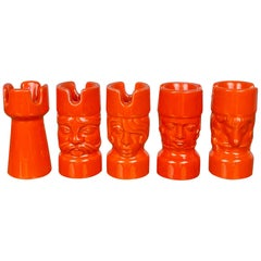 Orange Ceramic Chess Pieces Sculpture by Il Picchio, Italy, 1970s