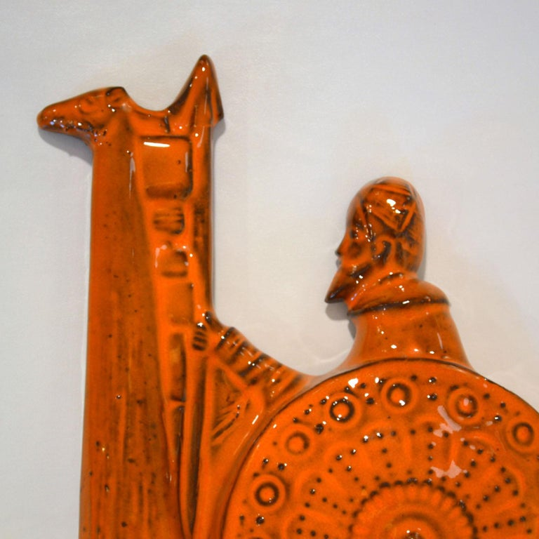 Mid-Century Modern Orange Ceramic Wall Plate of Don Quixote & Sancho Pancha, 1960s by Sanchez For Sale
