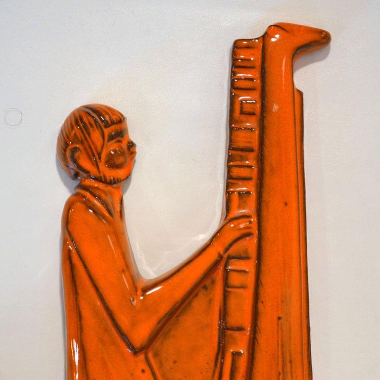 Belgian Orange Ceramic Wall Plate of Don Quixote & Sancho Pancha, 1960s by Sanchez For Sale