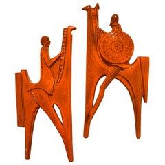 Orange Ceramic Wall Plate of Don Quixote & Sancho Pancha, 1960s by Sanchez