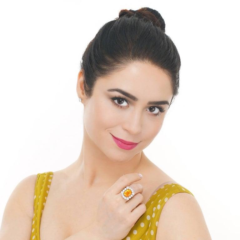 Orange Ceylon Sapphire and Diamond Set Gold Ring French GIA 6