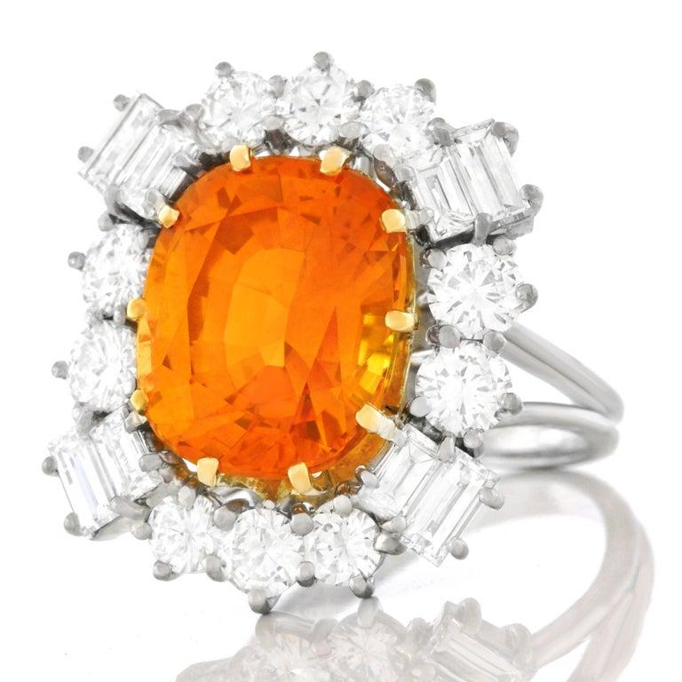 Orange Ceylon Sapphire and Diamond Set Gold Ring French GIA 7