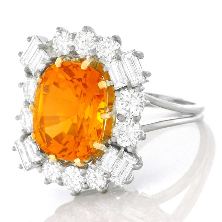 Orange Ceylon Sapphire and Diamond Set Gold Ring French GIA In Excellent Condition In Litchfield, CT