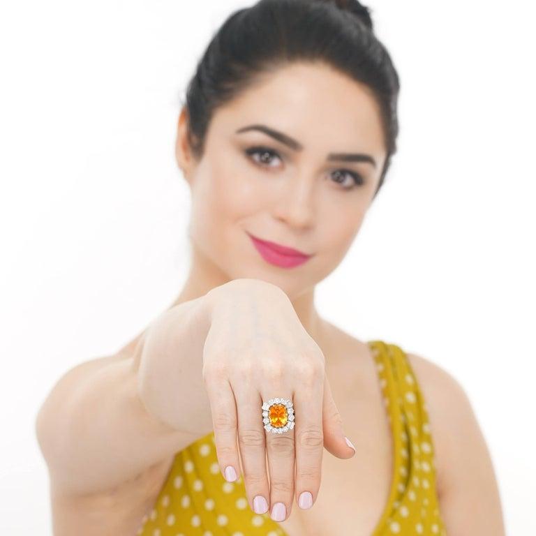 Women's Orange Ceylon Sapphire and Diamond Set Gold Ring French GIA