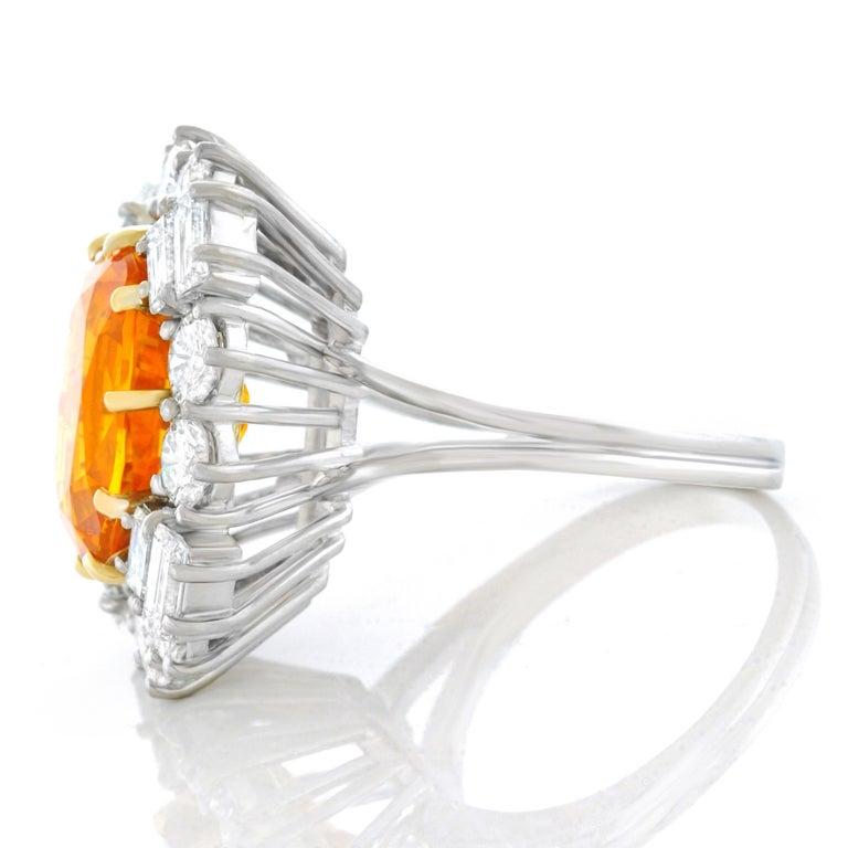 Orange Ceylon Sapphire and Diamond Set Gold Ring French GIA 3