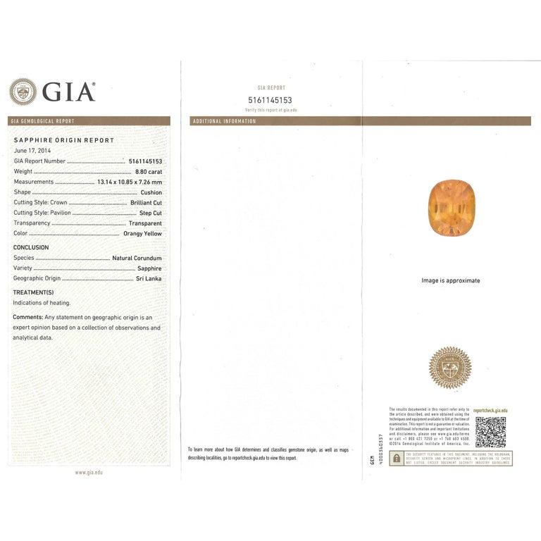 Orange Ceylon Sapphire and Diamond Set Gold Ring French GIA 4