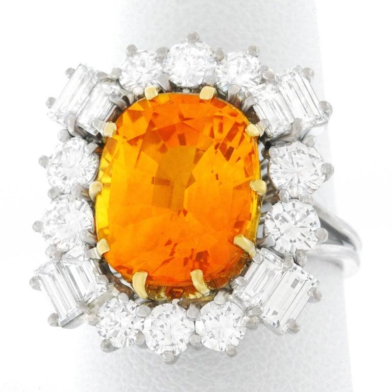 Orange Ceylon Sapphire and Diamond Set Gold Ring French GIA 5