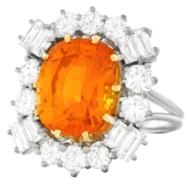 Orange Ceylon Sapphire and Diamond Set Gold Ring French GIA