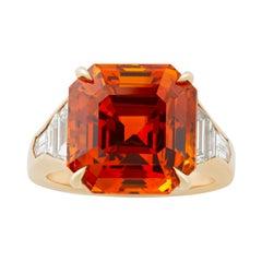Orange Ceylon Sapphire Ring, 14.12 Carats