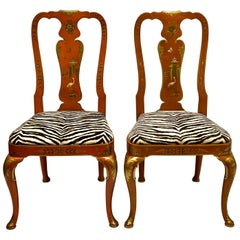 Orange Chinoiserie Queen Anne Side Chairs by Kindel Furniture, Pair