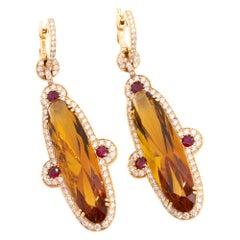 Orange Citrine and Diamond Gold Earrings