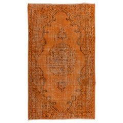 5.4x8.7 Ft Orange Color Over-Dyed Mid-Century Hand-Knotted Vintage Anatolian Rug