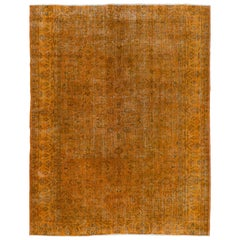 Orange Color Over-Dyed Vintage Handmade Turkish Rug
