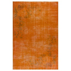 Orange Color Overdyed Distressed Handmade Vintage Turkish Rug