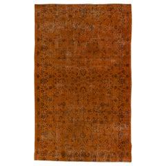 Orange Color Overdyed Handmade Vintage Floral Turkish Rug