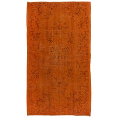 Orange Color, Overdyed Handmade Vintage Turkish Rug