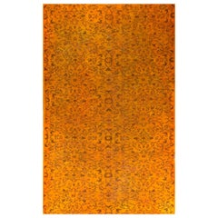 5x7.7 Ft Vintage Hand-knotted Turkish Wool Rug Over-dyed in Orange