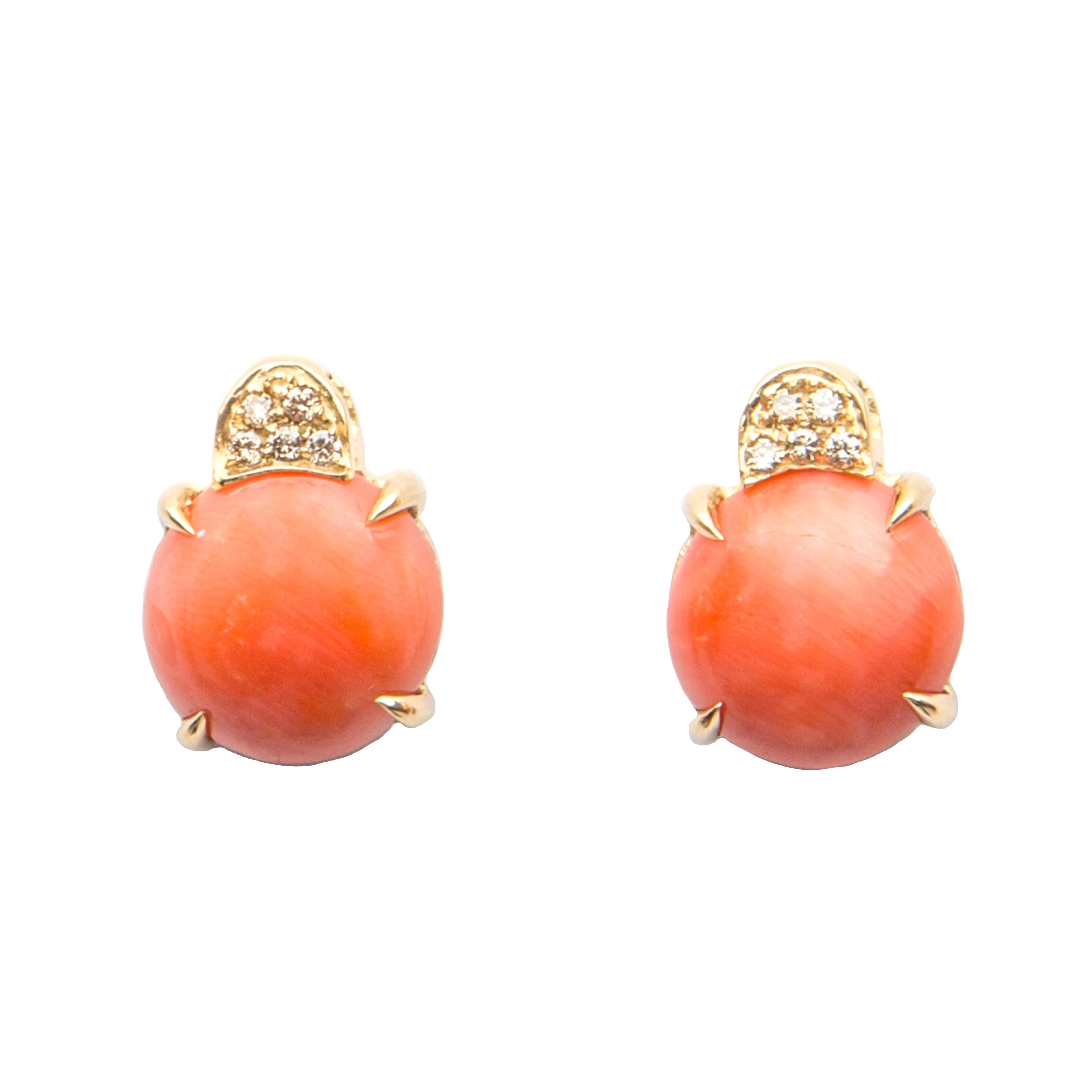 Orange Coral and Brown Diamond Earrings in 18 Karat Yellow Gold Made in Italy