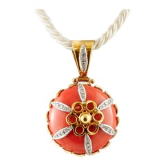 Orange Coral, Diamonds, 18 Karat Yellow Gold Pendant Necklace