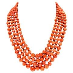 Orange Corals and Orange Zircon Multi Strand Necklaces with Bakelite Clasp