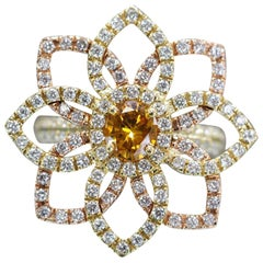 Orange Diamond in Custom Made Flower Ring
