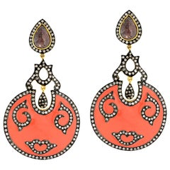 Orange Enamel Earring with Diamond Motif