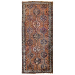 Orange Gallery Size Old Persian Shiraz Worn and Repaired Hand Knotted Oriental R