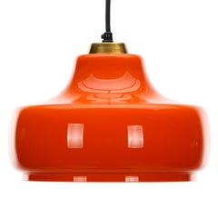 Orange Glass Hanging Lamp with Brass by Danish Holmegaard, 1970s